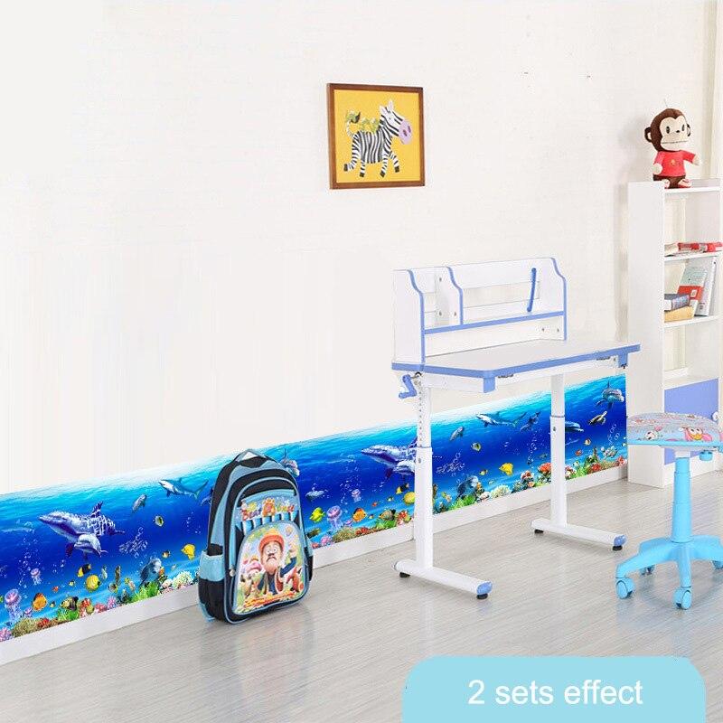 Cheap Summer Ocean Underwater Border Wallpaper Kids Home Nursery Bathroom Kitchen Diy Decor Blue