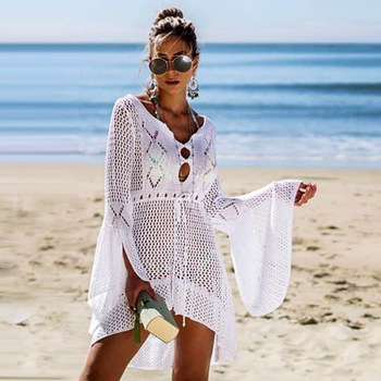 New Sexy Covers Up Bikini Women Swimsuit Cover-up Beach Bathing Suit Beach Wear Knitting Swimwear Mesh Beach Dress Tunic Robe