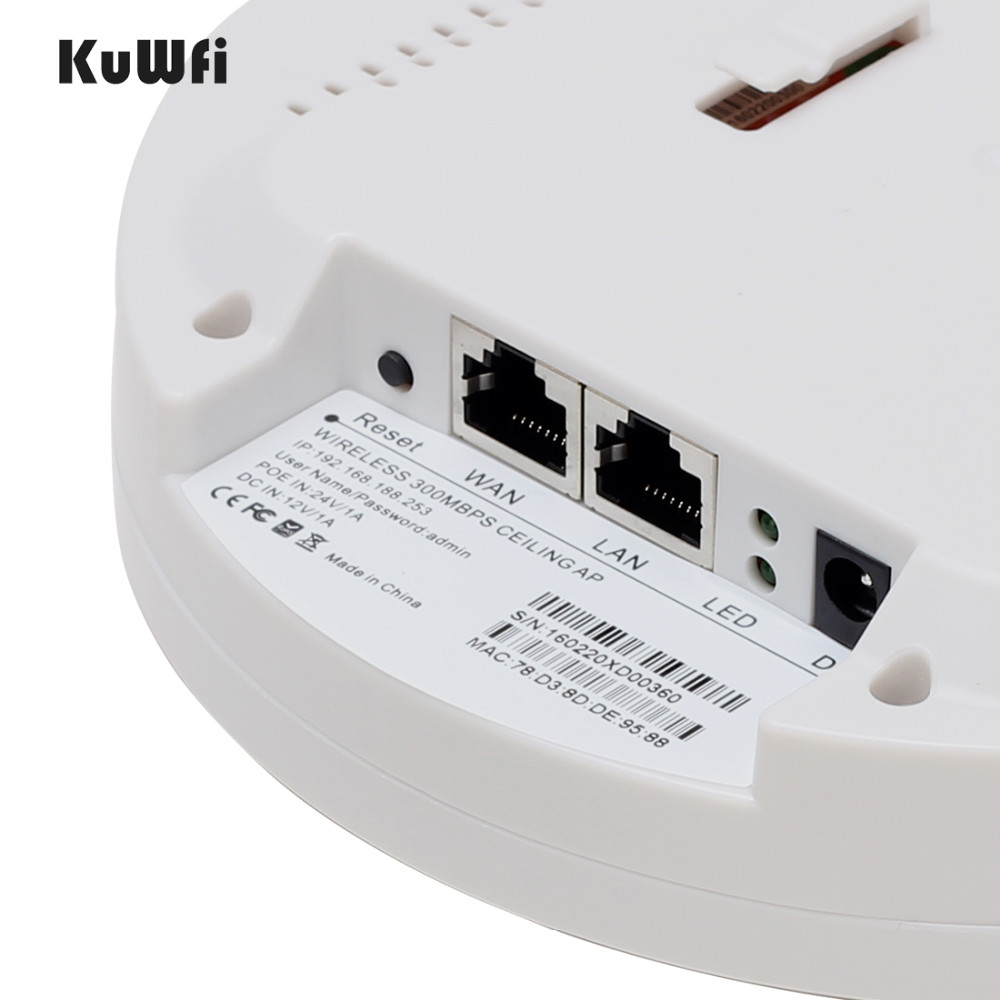 Image 4 - Kuwfi 300Mbps Indoor Ceiling Mount Wireless Access Point Controller System Wireless Router Long Coverage For Hotel/School-in Wireless Routers from Computer & Office