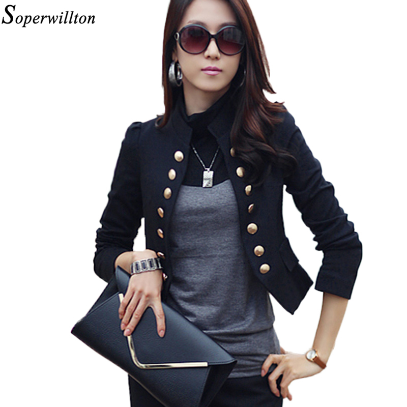 Suit Jacket Female Blazers Feminino 2018 Ladies Blazers Double Breasted Black Women Blazer Long Sleeve Slim Short Jacket BL04