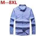 plus size 9XL 8XL 7XL 6XL 5XL Fashion New 2016 Men Shirts Male Striped Formal Dress Shirt Long Sleeve Mens Brand Casual Shirts