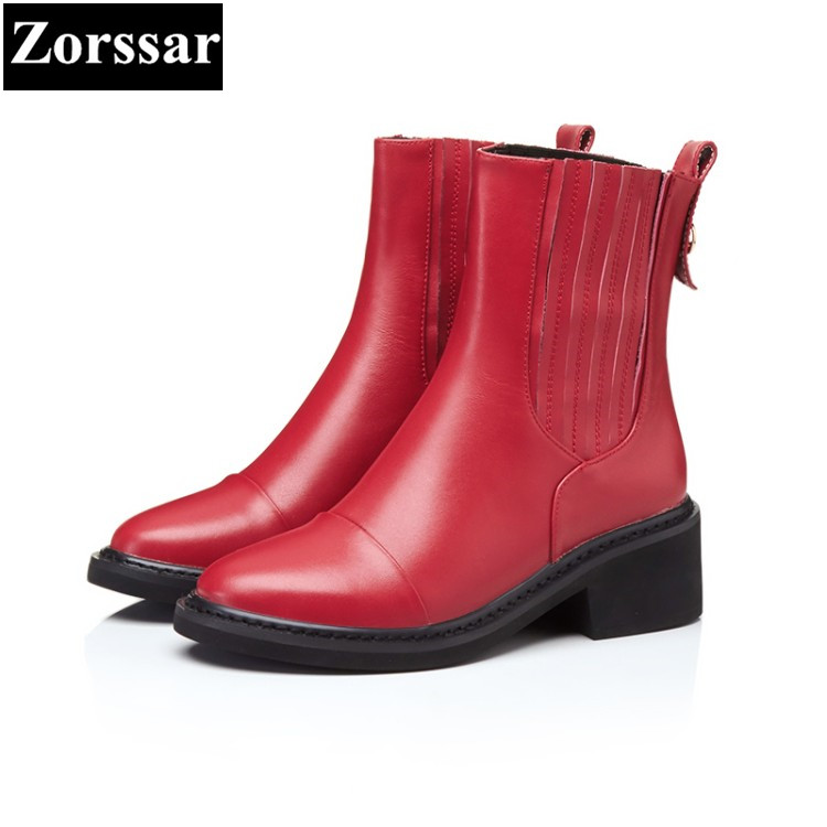 {Zorssar} 2017NEW arrival Autumn winter Women Boots High heels platform Ankle Boots Genuine Leather fashion womens Chelsea Boots zorssar brands 2018 new arrival fashion women shoes thick heel zipper ankle chelsea boots square toe high heels womens boots