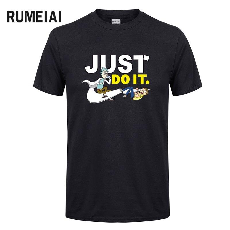 2018 New Rick and Morty T Shirt Mens Black And White Anime Cartoon Men T-shirts Summer Skateboard Tee Boy Skate Tshirt Tops