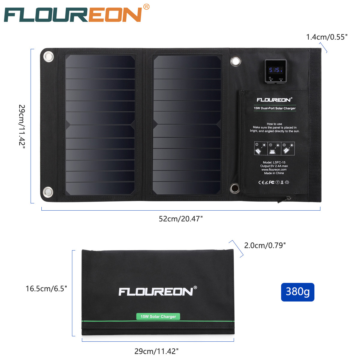 FLOUREON 15W Waterproof Built-in Ammeter Solar Panel Charger Mobile Power Bank for Smartphones Tablets Dual USB Ports Outdoor mvpower 5v 5w solar panel bank solar power panel usb charger usb for mobile smart phone