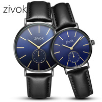 zivok 2018 Fashion Lovers Watch Top Featured Brand Black Leather Couple Watch for Women Men Quartz Wrist Watches Clock Hour