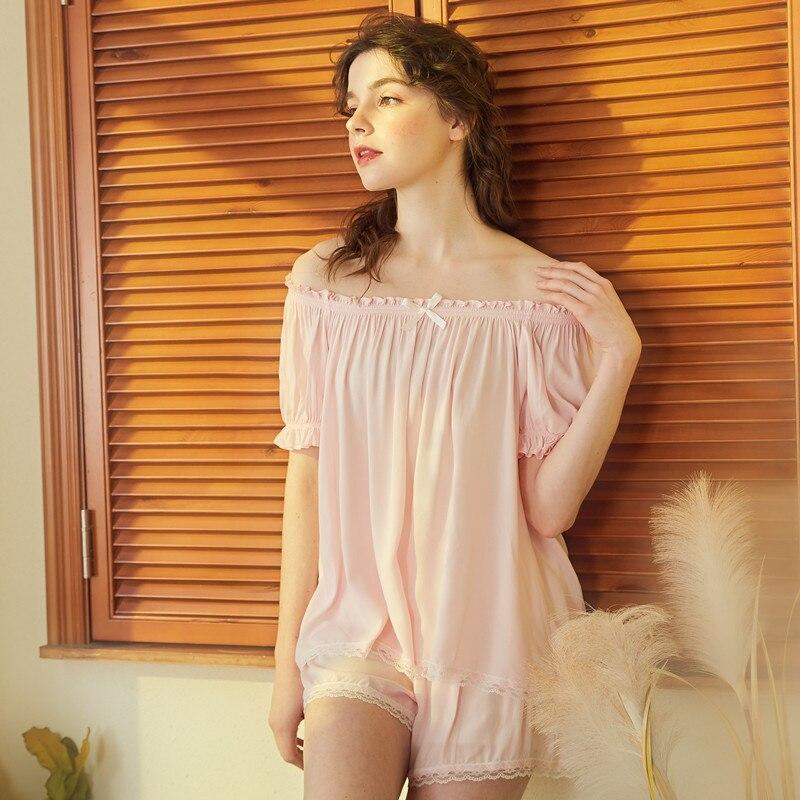 Two Piece Cotton Pajama Set Sexy Short Sleeve Top and Lace Shorts Pyjamas Slash Neck Sleepwear Pijama Nightie Home Clothes