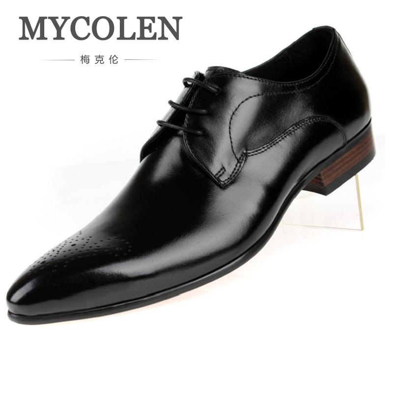 MYCOLEN Men Dress Shoes Comfortable Genuine Leather Male Shoes England Style Business Wedding Formal Flats For Men Chaussures handmade genuine leather men shoes men flats shoes business dress shoes men oxford formal shoes size 38 47