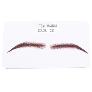 Image 3 - Handmade Human Hair False Eyebrows Lace Base For Women For Party Wedding Cosplay Star Fake Eyebrow Synthetic Eyebrows