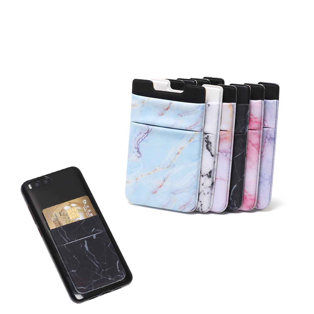 1PC Fashion New Marble Credit ID Card Holder Elastic Mobilephone Wallet Lycra Adhesive Pocket Sticker Accessory Cellphone Pocket