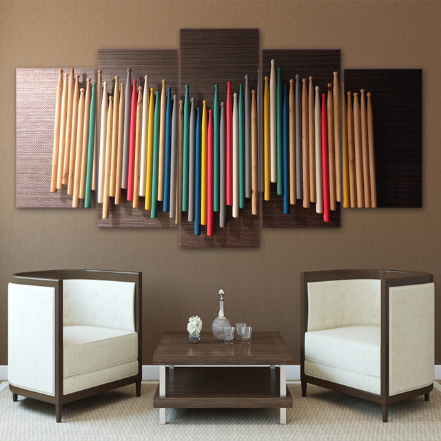 Printed 5 Piece Canvas Art Colorful Music Drum Sticks Painting Modular Paintings Wall To Room Frames