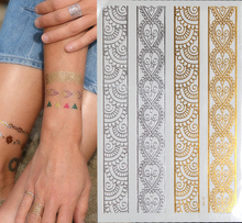 HOT SALE Metallic Gold Silver Temporary Tattoos India Flash Tattoo Stickers