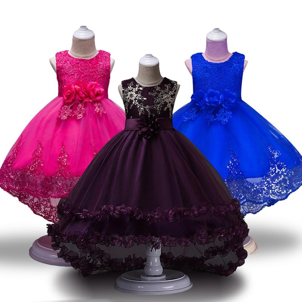 Girls   Party   Dress   Sleeveless Princess Children   flower     girl     dresses   Wedding Trailing Prom Birthday   Dresses   for 4 6 8 10 12 Years