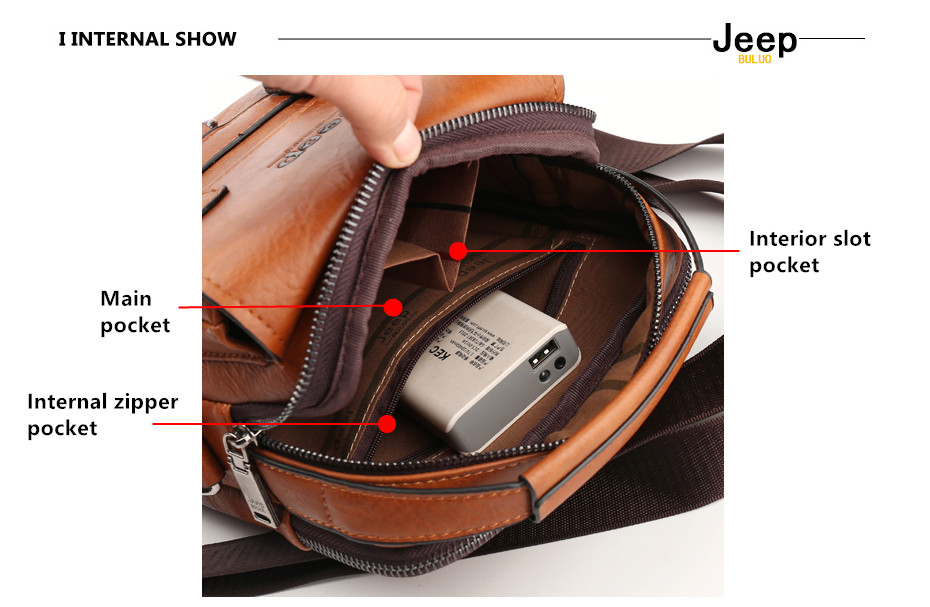 JEEP BULUO Multi-function Men Handbags New Man's Crossbody Shoulder Bag Large Capacity Leather Messenger Bag For Man Travel Cool 6