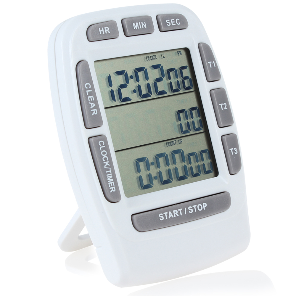 99 Hours Digital Timer Count Down 3 Channel With Clock Big LCD ...