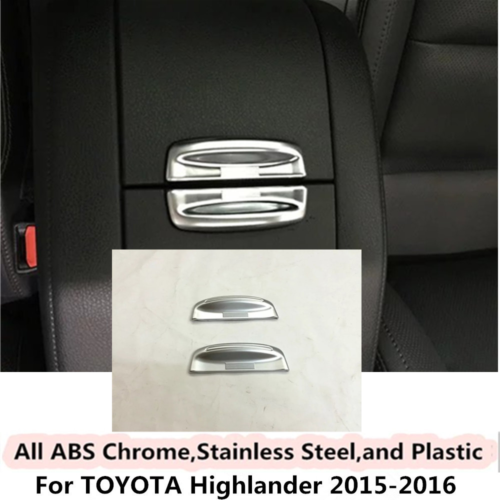 For Toyota Highlander 2015 2016 car body Style cover ABS Chrome Armrest handrail Trim frame lamp box switch middle Storage 2pcs