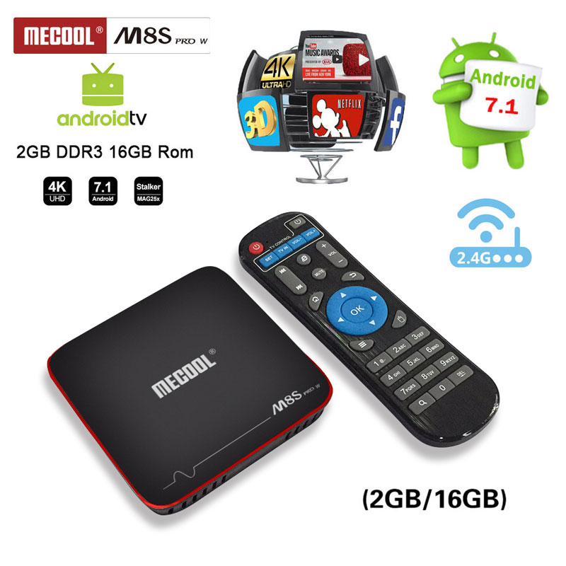 MECOOL M8S PRO W Android 7.1 TV Box 2 GB 16 GB Amlogic S905W prend en charge 2.4G wifi 4 k H.265 Youtube google play Netflix HD pk h96max