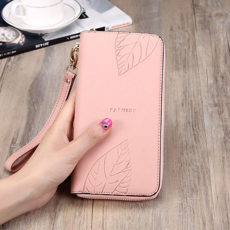 Korean Fashion Long wallet women Large Capacity Ladies leather wallet Multi-card Bit Billetera Mujer 2019 Leaf Girls Purse