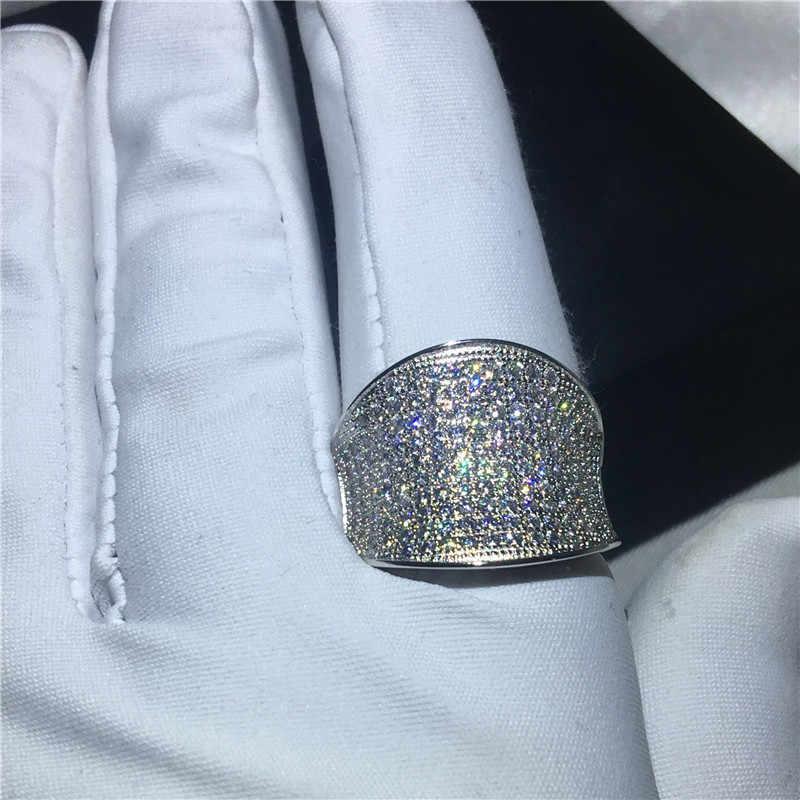 Choucong hiphop rock anel de dedo 925 prata esterlina pave definir aaaaa cz festa anéis de banda para mulheres jóias de casamento