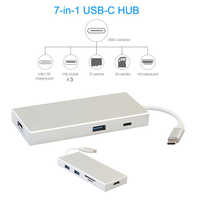 7in1 Type-c HUB USB 3.1 Type C to 4K HDMI USB-C PD USB 3.0 Digital AV Multi-port Adapter TF SD Card Reader Converter Splitter new portable mini design charming 3 in 1 card reader usb type c micro usb 3 0 tf sd card reader support type c otg card reader
