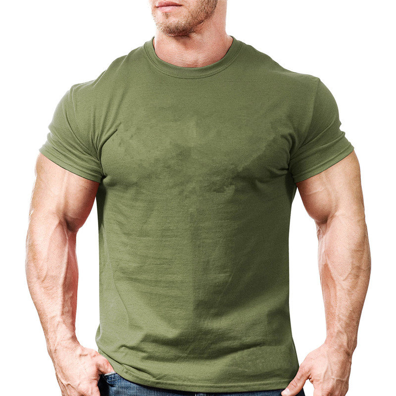 Men Cotton Solid Short sleeve   t     shirt   Summer Gyms Fitness Workout Slim O-Neck   T  -  shirt   Male Tee Tops Casual Army Green clothing