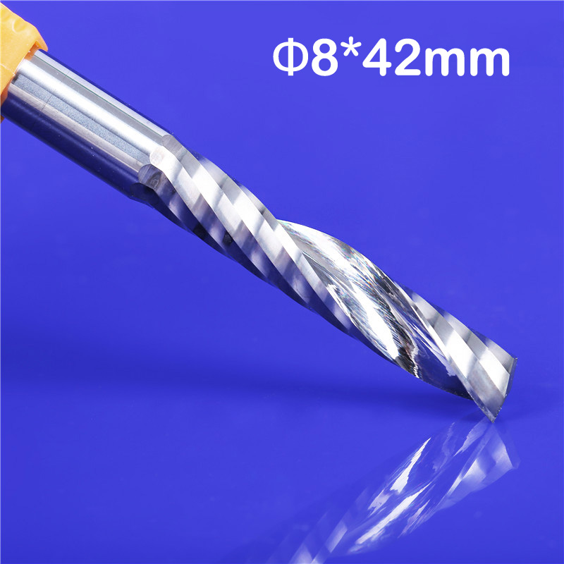 2pcs/lot High Quality Longer Cnc Router Bits Single Flute Spiral Carbide End Mill Cutter Tools SHK 8mm 8 X 42mm LOA 75mm