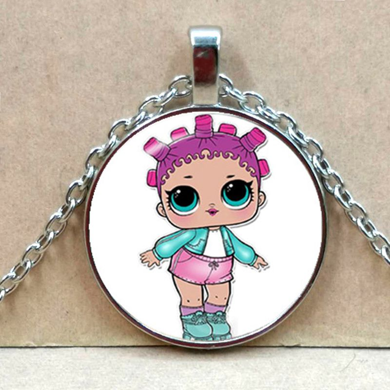 Мультяшное ожерелье с изображением куклы милое детское блестящее платье принцессы куклы стеклянные ожерелья аниме для детей подарок на день рождения - Окраска металла: Silver 1
