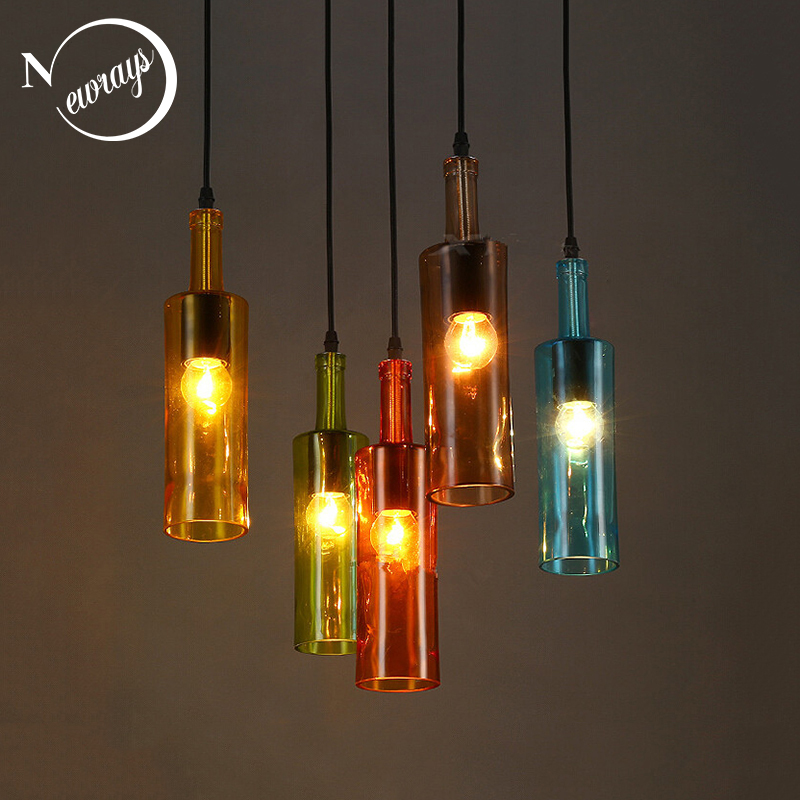 Loft Retro Beer Bottle Glass Pendant Light LED E27 With 5 Colors Creative Hanging Lamp For Bar Shop Restaurant Living Room Cafe