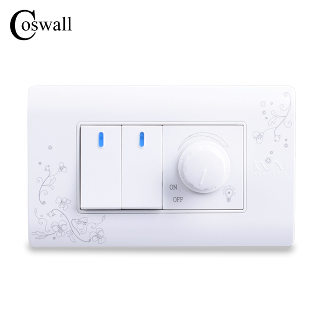 COSWALL Luxury Wall Dimmer Regulator 300W Maximum With 2 Gang 2 Way ...