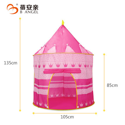 New Arrival Portable Blue Pink  Prince Folding Tent Kids Children Boy Castle Cubby Play House For Kids Best Gift