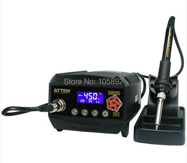 Free shipping atten at980d lcd digital display esd safe 80w soldering iron station