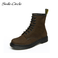 Big Size 34 44 Autumn Winter Boots For Women Martin Boots Genuine Leather Fashion Ankle Boots