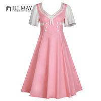 JLI MAY Vintage Summer Sailor Dress Women Patchwork Short Sleeve V Neck Button Womens Clothing Pink
