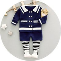 2017 Autumn New Baby Toddler Girl Jacket Coat Set Sailor Preppy Style 2 Piece Set Navy