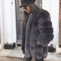 80CM Length New Winter Warm Ladies Genuine Fox Fur Coats Striped Design Women Real Fox Fur Coats O neck Outerwear