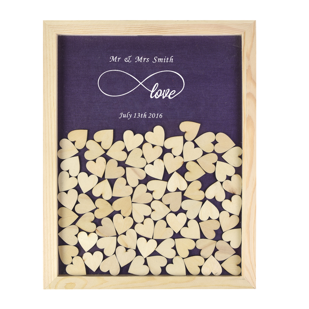 Personalized Multi-Colors Drop Rustic Atas Bingkai Buku Tamu Perkahwinan Kayu & Customized Hearts & 3CM Hand-Writing Wood Hearts