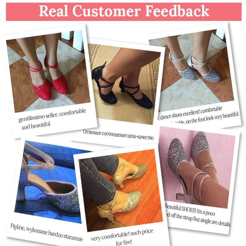 2018 Tumit Tinggi Glitter Wanita Sepatu Dansa Latin wanita Ballroom - Sepatu kets - Foto 6