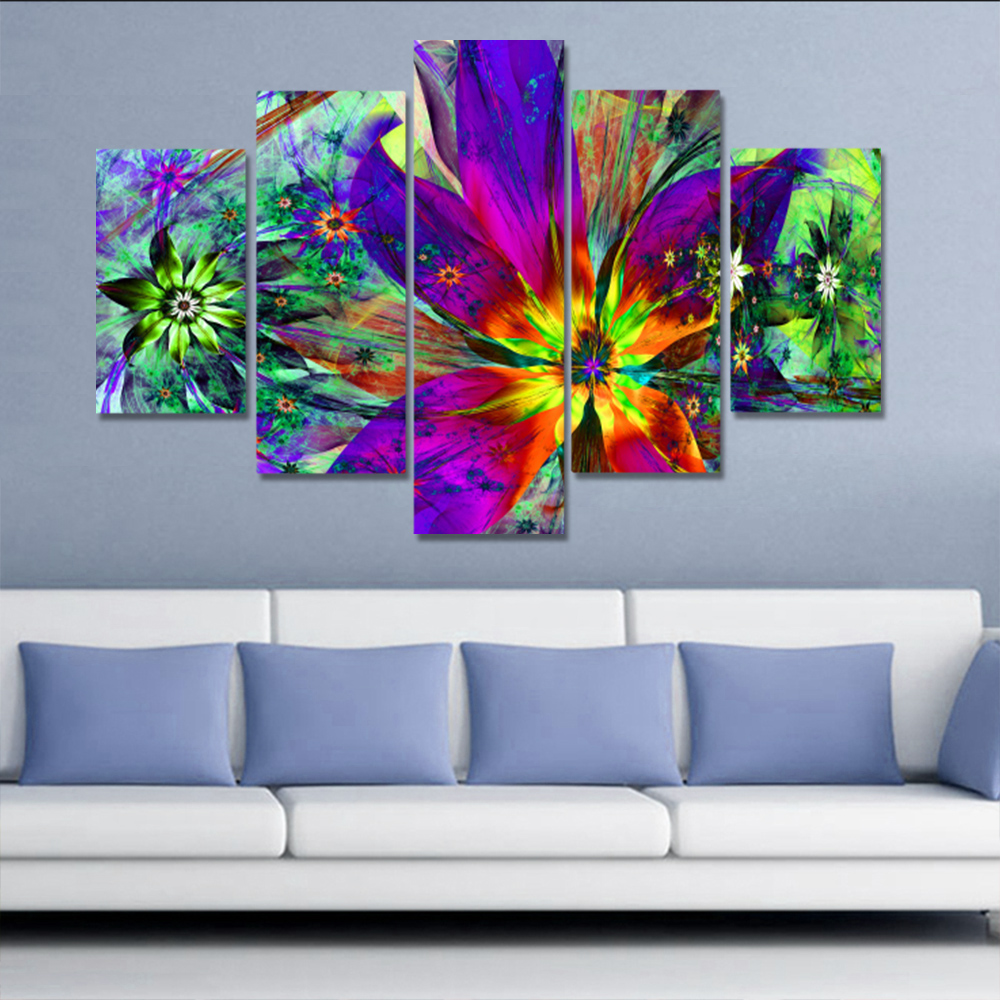 Unframed 5 HD Canvas Prints Abstract Flower Colored Living Room Decoration Mural Module Art Spray Painting Unframed