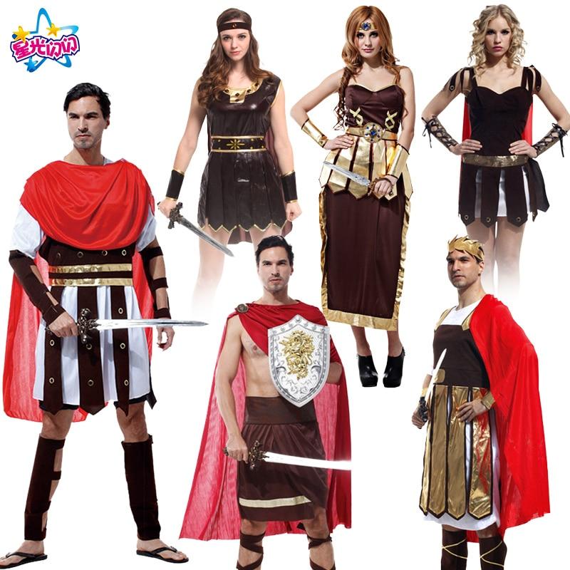 Nemokamas pristatymas Vyriški Helovinas karaliaus kostiumai Romos princas Kariai kariai Cosplay žaidimai uniformos Drabužiai vyrams ir moterims