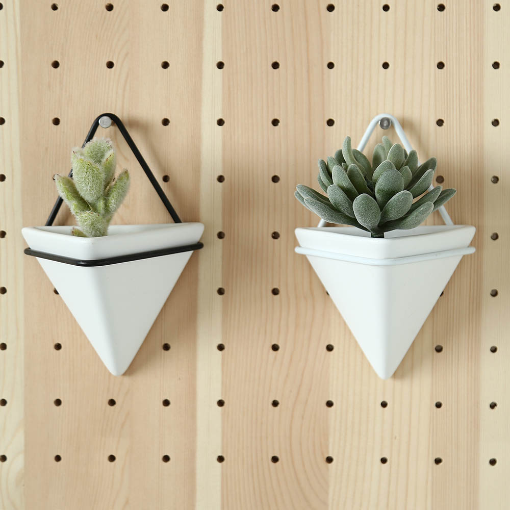 Simple Container Iron Triangular Vase Ceramic Self Water-Absorbing Planter Set Nordic Succulent Plant Wall Mounted Flowerpot
