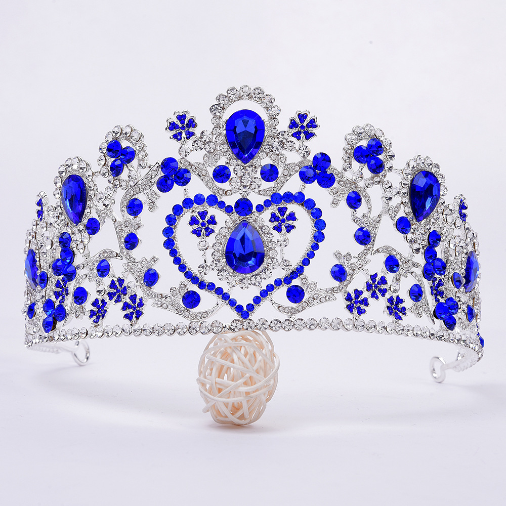 Baroque Silver Blue Red Crystal Heart Bridal Tiaras Crown Rhinestone Diamante Pageant Crowns Wedding Hair Accessories Headpiece matrix биолаж скалпсинк набор ампул против выпадения волос 10х6 мл biolage scalpsync