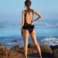 Black Lace One Piece Swimwear Halter Bathing Suit Bodysuit Onepiece Trikini Sexy Monokini Women Plus Size