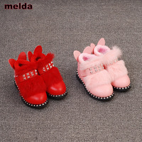 3 7 Year Old 2017 New Girls Winter Snow Boots Fashion Rivet Plush Warm Shoes Kids