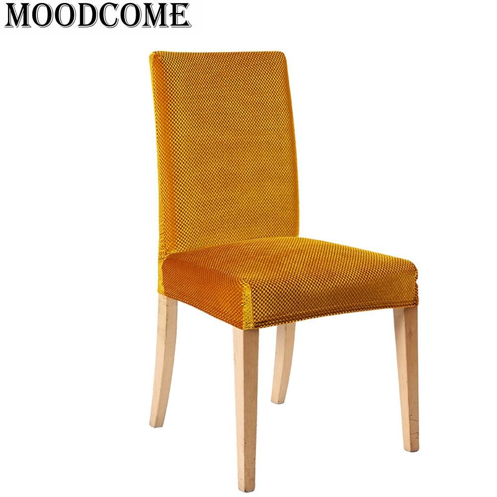 Goud fluwelen stoel cover elastische nieuwe collectie stoelhoezen eetkamer keuken hotel eetkamerstoel cover office
