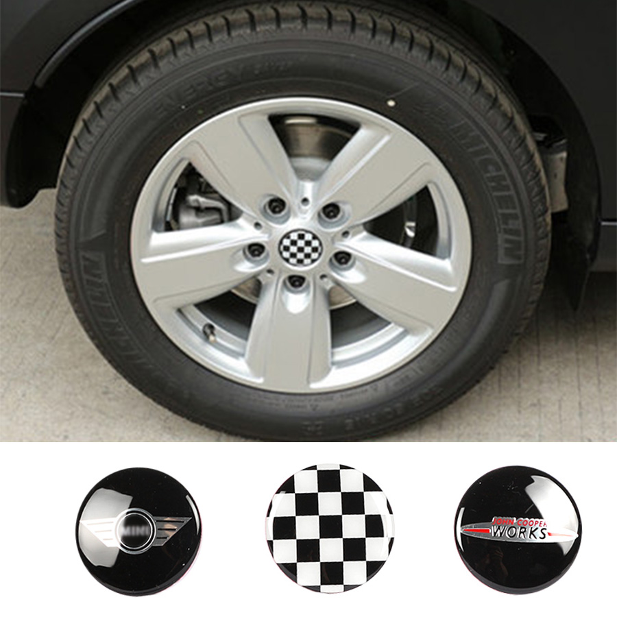 4PCS car sticker wheel cover 3D car sticker 56mm for Mini cooper clubman countryman R50 R52 R55 R56 R57 R58 R59 R60 Стикер