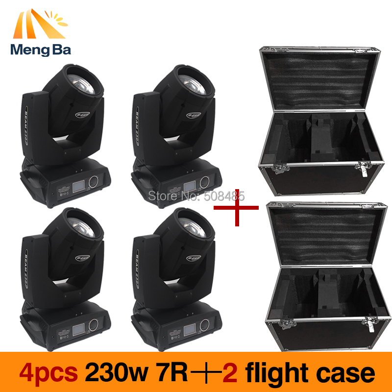 4pcs/lot touch screen 230W 7R Osram sharp beam moving head spot light with 2pcs flightcase 16CH 17Gobos+14Chips Stage Light sharp r 3495st