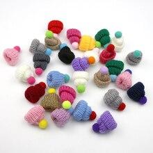 40 шт. шерстяная пряжа вязание мини-шляпы DIY ремесло поставки головной убор одежда куклы игрушки Декор дети Скрапбукинг искусство милые маленькие шапки