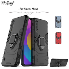 For Xiaomi Mi A3 Case Armor Rubber Metal Finger Ring Holder Hard Phone Bumper Back Cover Funda