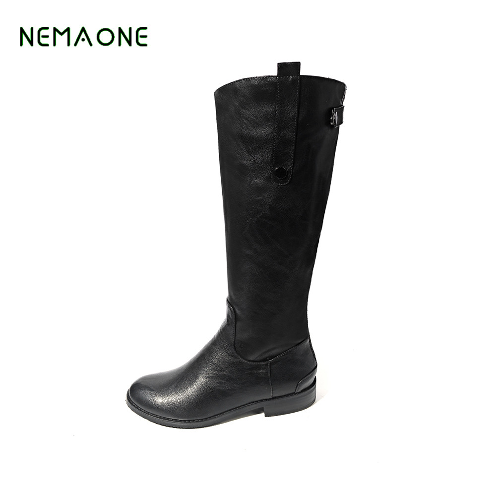 NEMAONE Size 34-43 2017 Shoes Women Boots black brown white high heels Thigh High Boots Winter Waterproof Snow Boot