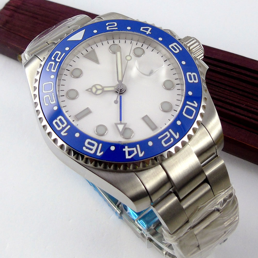 Top Hot 43mm Bliger White Sterile Dial Blue ceramic bezel GMT Date Luminous Hands Sapphire Glass Automatic Movement Men 39 s Watch in Mechanical Watches from Watches