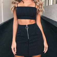 Waatfaak Fashion Striped High Waist Mini Skirts Women Zipper Split Stretchy Bodycon Sexy Slim Casual Black Ladies Skirt Summer